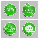 Πράσινη αυτοκόλλητη ετικέττα φυσική, βιο, σύνολο προϊόντων Eco Στοκ Εικόνες