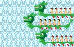 Πράσινη βάρκα δράκων στο μπλε αφηρημένο διανυσματικό σχέδιο υποβάθρου Στοκ Φωτογραφία