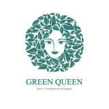 Πράσινη βασίλισσα Logo Λογότυπο για το καλλυντικό, ομορφιά, SPA Στοκ εικόνα με δικαίωμα ελεύθερης χρήσης