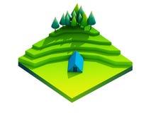 Πράσινη γήινη έννοια κατά τη isometric άποψη Στοκ Φωτογραφίες