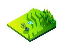 Πράσινη γήινη έννοια κατά τη isometric άποψη Στοκ Φωτογραφία