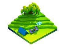 Πράσινη γήινη έννοια κατά τη isometric άποψη Στοκ Εικόνα