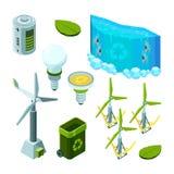 Πράσινη ενέργεια αποταμίευσης Υδρο διανυσματικές isometric απεικονίσεις τεχνολογίας αποβλήτων οικοσυστήματος στροβίλων δύναμης απεικόνιση αποθεμάτων