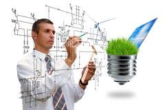 Πράσινη ενέργεια καθαρών τεχνολογιών εφαρμοσμένης μηχανικής παραγωγής σχεδιασμός στοκ εικόνα