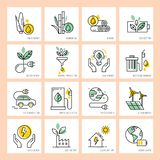 Πράσινη ενέργεια και η συντήρησή του για να προστατεύσει το περιβάλλον διανυσματική απεικόνιση