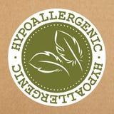Πράσινη ετικέτα Hypoallergenic, διακριτικό με τα φύλλα για τα ασφαλή προϊόντα αλλεργίας, διανυσματικό αντικείμενο διανυσματική απεικόνιση