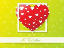 Πράσινη ευχετήρια κάρτα βαλεντίνων του ST, μεγάλη καρδιά, διάνυσμα Στοκ Φωτογραφίες