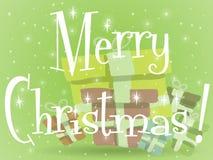 Πράσινη ευχετήρια κάρτα χριστουγεννιάτικων δώρων Στοκ Φωτογραφία