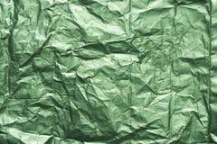 Πράσινη ζαρωμένη μεταλλική σύσταση υποβάθρου φύλλων αλουμινίου Στοκ Εικόνες