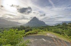 Πράσινη ζούγκλα στο βουνό Rotui με τον κόλπο και τον κόλπο ο του μάγειρα Opunohu Στοκ Εικόνες