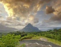 Πράσινη ζούγκλα στο βουνό Rotui με τον κόλπο και τον κόλπο ο του μάγειρα Opunohu Στοκ Εικόνα