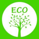 Πράσινη διανυσματική απεικόνιση της σκιαγραφίας δέντρων στο στρογγυλό πλαίσιο Στοκ εικόνα με δικαίωμα ελεύθερης χρήσης