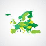 Πράσινη διανυσματική απεικόνιση υποβάθρου χαρτών της Ευρώπης Στοκ Εικόνες