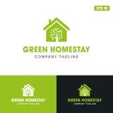 Πράσινη διανυσματική επιχειρησιακών ιδέα λογότυπων εγχώριας παραμονής/λογότυπων σχεδίου εικονιδίων στοκ εικόνα
