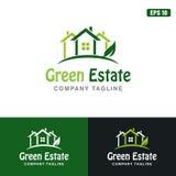 Πράσινη διανυσματική επιχειρησιακών ιδέα λογότυπων κτημάτων/λογότυπων σχεδίου εικονιδίων στοκ φωτογραφία με δικαίωμα ελεύθερης χρήσης