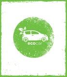 Πράσινη διανυσματική φυσική φιλική έννοια Drive αυτοκινήτων Eco στο τραχύ υπόβαθρο Στοκ Εικόνα