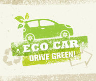 Πράσινη διανυσματική φυσική φιλική έννοια Drive αυτοκινήτων Eco στο τραχύ υπόβαθρο Στοκ εικόνες με δικαίωμα ελεύθερης χρήσης