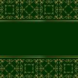 Πράσινη κάρτα με τη χρυσή διακόσμηση Στοκ Εικόνες