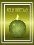 Πράσινη κάρτα Χριστουγέννων με το κερί και το κείμενο Στοκ Εικόνες