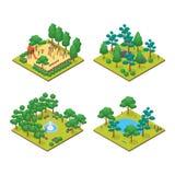 Πράσινη καθορισμένη τρισδιάστατη Isometric άποψη έννοιας πάρκων πόλεων διάνυσμα απεικόνιση αποθεμάτων