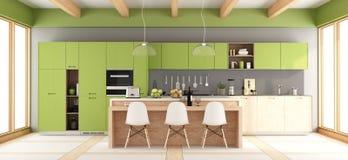 Πράσινη και γκρίζα σύγχρονη κουζίνα ελεύθερη απεικόνιση δικαιώματος