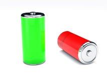 Πράσινη και κόκκινη μπαταρία στο άσπρο υπόβαθρο Στοκ φωτογραφία με δικαίωμα ελεύθερης χρήσης