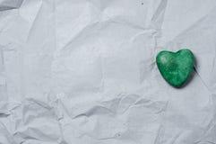Πράσινη καρδιά της πέτρας Στοκ φωτογραφία με δικαίωμα ελεύθερης χρήσης