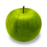 Πράσινη κινηματογράφηση σε πρώτο πλάνο της Apple που απομονώνεται στο άσπρο υπόβαθρο Στοκ Φωτογραφίες