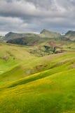 Πράσινη κοιλάδα κοντά σε Vik, Ισλανδία τη συννεφιάζω θερινή ημέρα Στοκ φωτογραφία με δικαίωμα ελεύθερης χρήσης