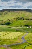 Πράσινη κοιλάδα με το δρόμο κοντά σε Vik, Ισλανδία τη συννεφιάζω θερινή ημέρα Στοκ φωτογραφία με δικαίωμα ελεύθερης χρήσης