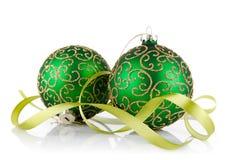 πράσινη κορδέλλα δύο σφαι& Στοκ Εικόνα
