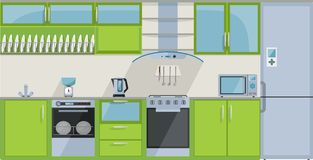 πράσινη κουζίνα απεικόνιση αποθεμάτων