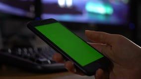 Πράσινη οθόνη στο smartphone απόθεμα βίντεο
