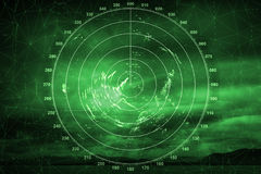 Πράσινη οθόνη συστημάτων ναυσιπλοΐας με την εικόνα ραντάρ Στοκ Φωτογραφίες