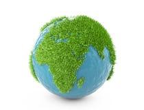 Πράσινη παγκόσμια έννοια με καλυμμένη την ήπειροι χλόη απεικόνιση αποθεμάτων