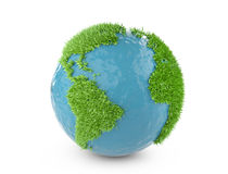 Πράσινη παγκόσμια έννοια με καλυμμένη την ήπειροι χλόη διανυσματική απεικόνιση