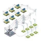 Πράσινη παροχή του χωριού ηλεκτρικού ρεύματος προωστήρων αιολικής ενέργειας γ Στοκ εικόνες με δικαίωμα ελεύθερης χρήσης