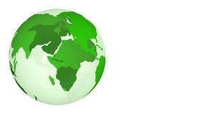 Πράσινη περιστροφή πλανήτη Γη που απομονώνεται στο άσπρο υπόβαθρο απεικόνιση αποθεμάτων