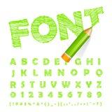 Πράσινη πηγή που σύρεται με το ιδιαίτερα λεπτομερές πράσινο μολύβι διανυσματική απεικόνιση