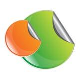πράσινη πορτοκαλιά αυτοκόλλητη ετικέττα αποφλοίωσης διανυσματική απεικόνιση