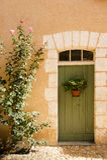 Πράσινη πόρτα Άγιος Jean de Cole Γαλλία Στοκ Εικόνα