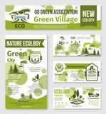 Πράσινη πόλη, σχέδιο προτύπων επιχειρησιακών εμβλημάτων eco Στοκ Εικόνες