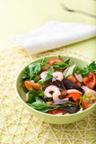 Πράσινη σαλάτα με τις ντομάτες και τις γαρίδες Στοκ εικόνα με δικαίωμα ελεύθερης χρήσης