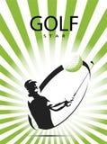 Πράσινη σκιαγραφία εικονιδίων γκολφ Στοκ εικόνα με δικαίωμα ελεύθερης χρήσης