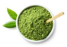 Πράσινη σκόνη τσαγιού matcha Στοκ φωτογραφία με δικαίωμα ελεύθερης χρήσης