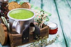 Πράσινη σούπα κρέμας στοκ φωτογραφία