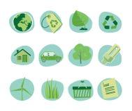 Πράσινη συλλογή αναγέννησης εικονιδίων αναδρομική - σύνολο 5 Στοκ Εικόνες