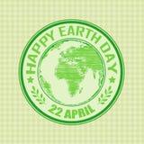 Πράσινη σφραγίδα grunge με την ευτυχή γη κειμένων ημέρα στις 22 Απριλίου γραπτό μέσα διανυσματική απεικόνιση