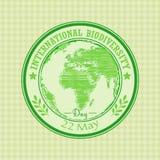 Πράσινη σφραγίδα grunge με το διεθνές στις 22 Μαΐου ημέρας βιοποικιλότητας κειμένων γραπτό μέσα ελεύθερη απεικόνιση δικαιώματος