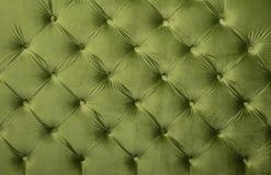 Πράσινη σχηματισμένη τούφες capitone σύσταση ταπετσαριών υφάσματος Στοκ Εικόνα
